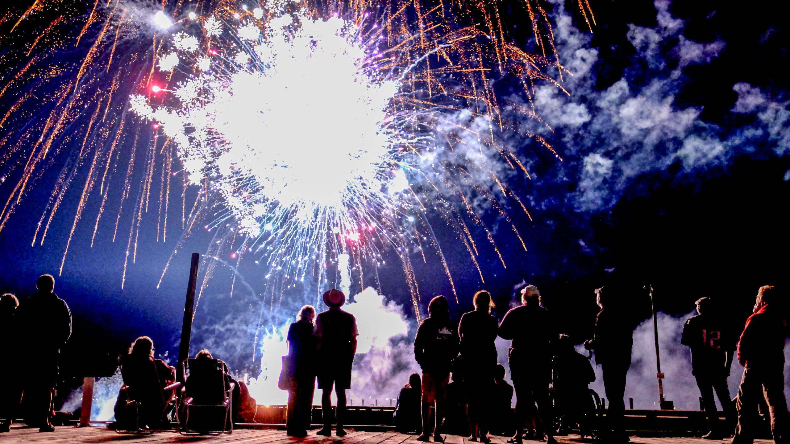 Weekend fireworks show on Annapolis Royal Nova Scotia harbourfront