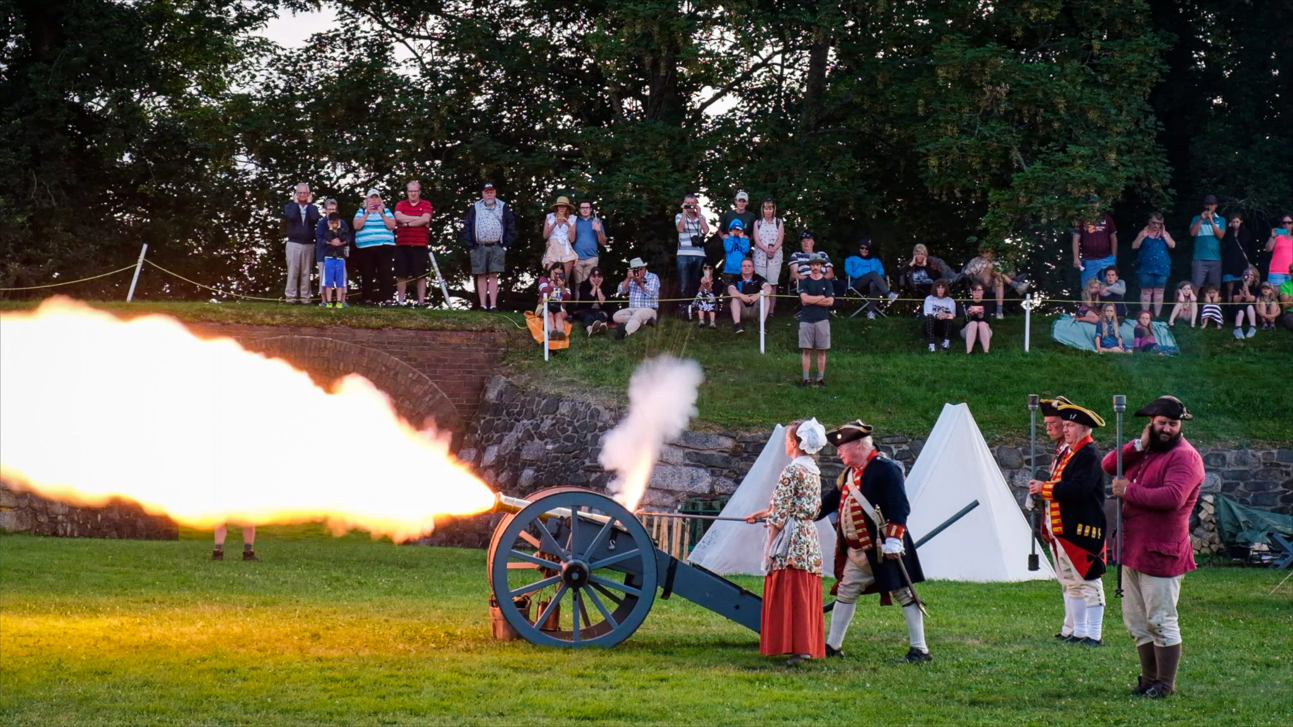 Historical re-enactment of colonial  highlights in Annapolis Royal Nova Scotia