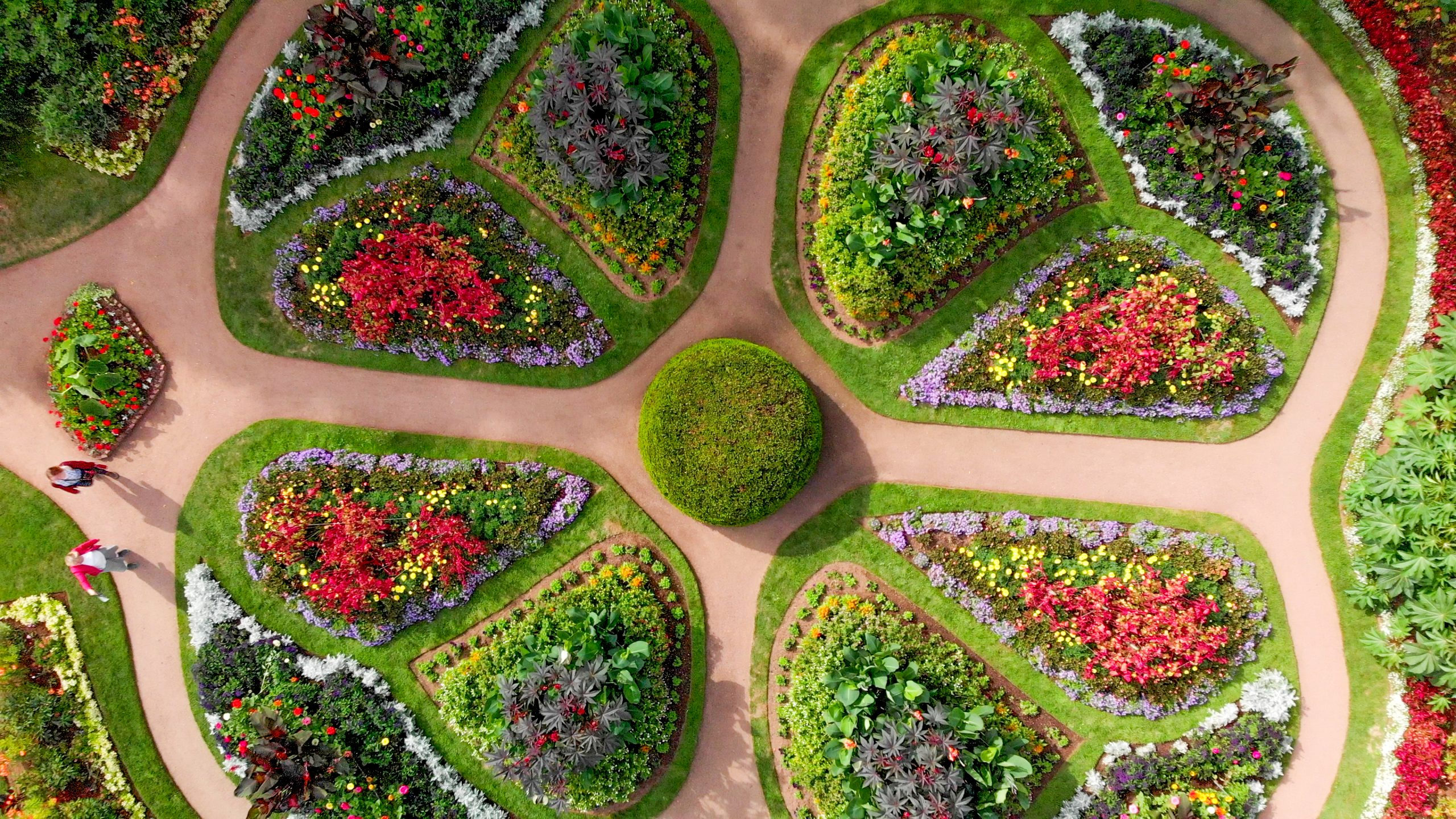 Aerial view of a portion of the Annapolis Royal Nova Scotia decorative gardens